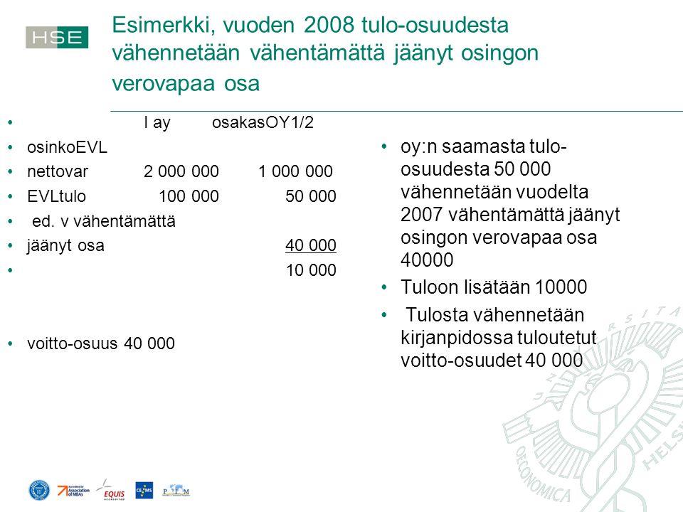Esimerkki, vuoden 2008 tulo-osuudesta vähennetään vähentämättä jäänyt osingon verovapaa osa