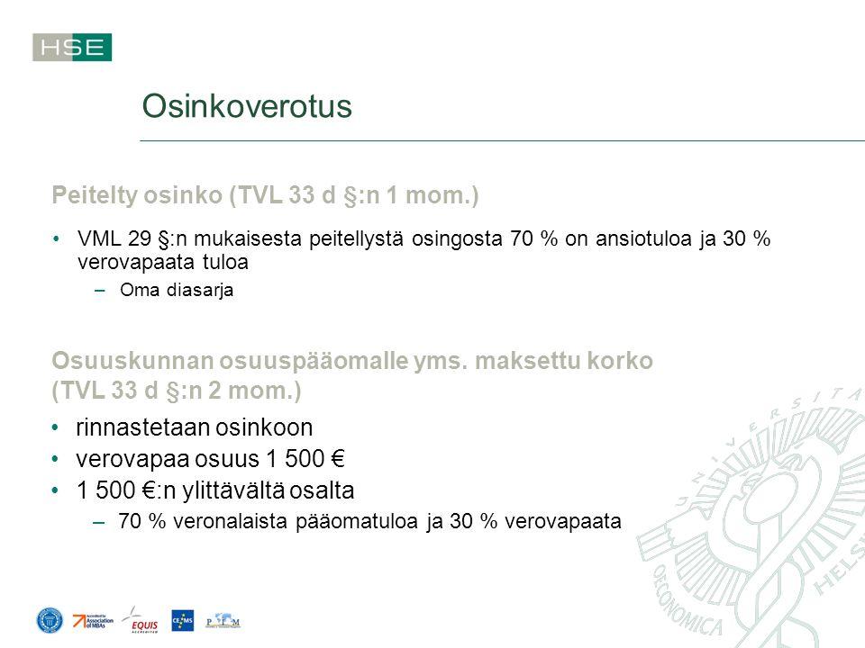Osinkoverotus Peitelty osinko (TVL 33 d §:n 1 mom.)