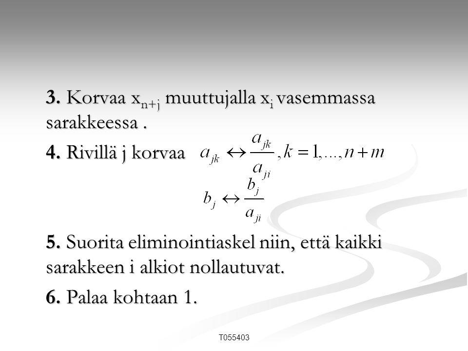 3. Korvaa xn+j muuttujalla xi vasemmassa sarakkeessa .