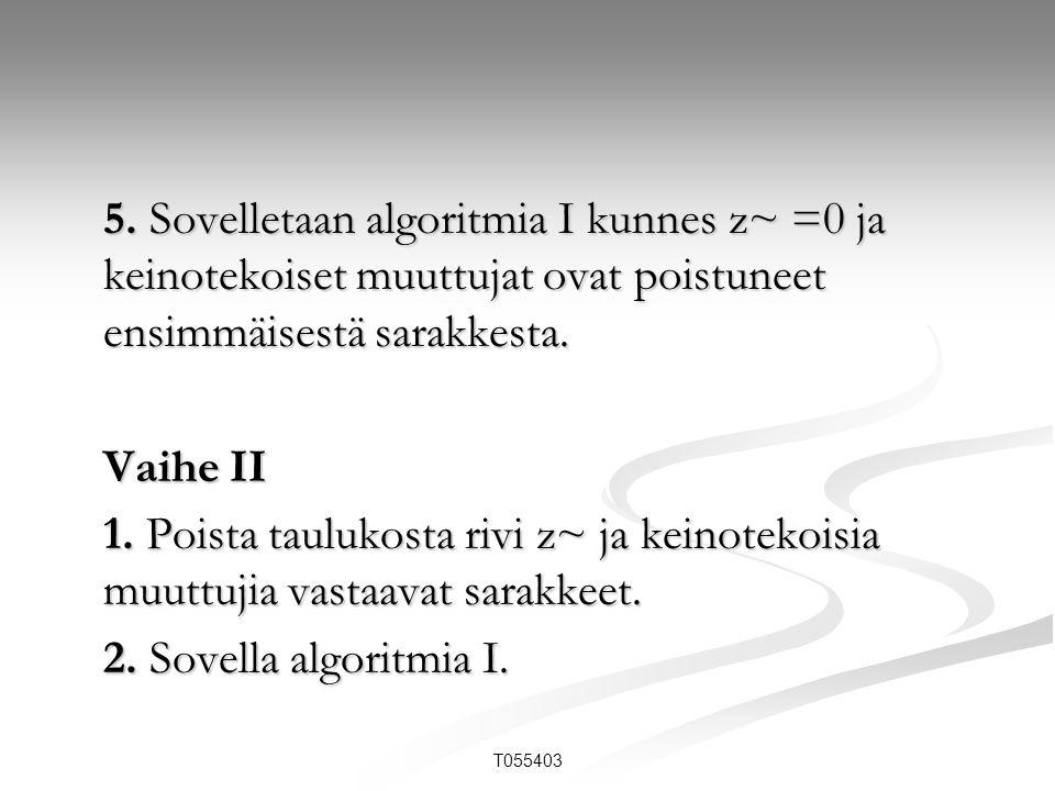 5. Sovelletaan algoritmia I kunnes z~ =0 ja keinotekoiset muuttujat ovat poistuneet ensimmäisestä sarakkesta.