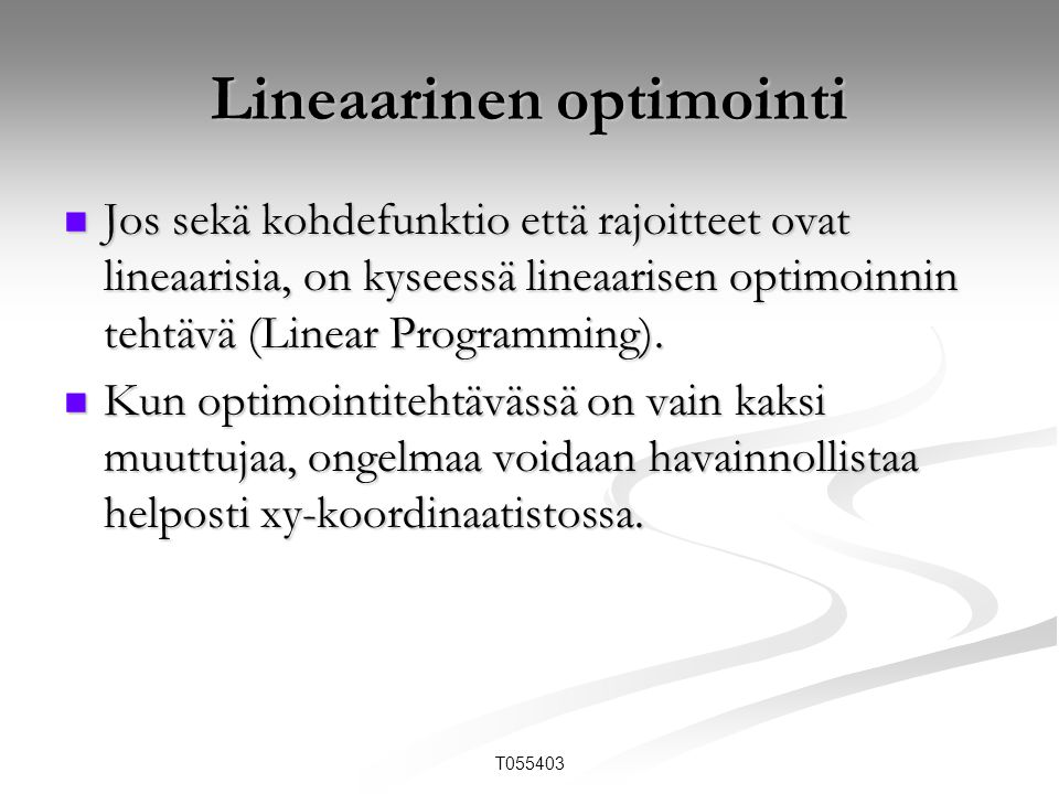 Lineaarinen optimointi
