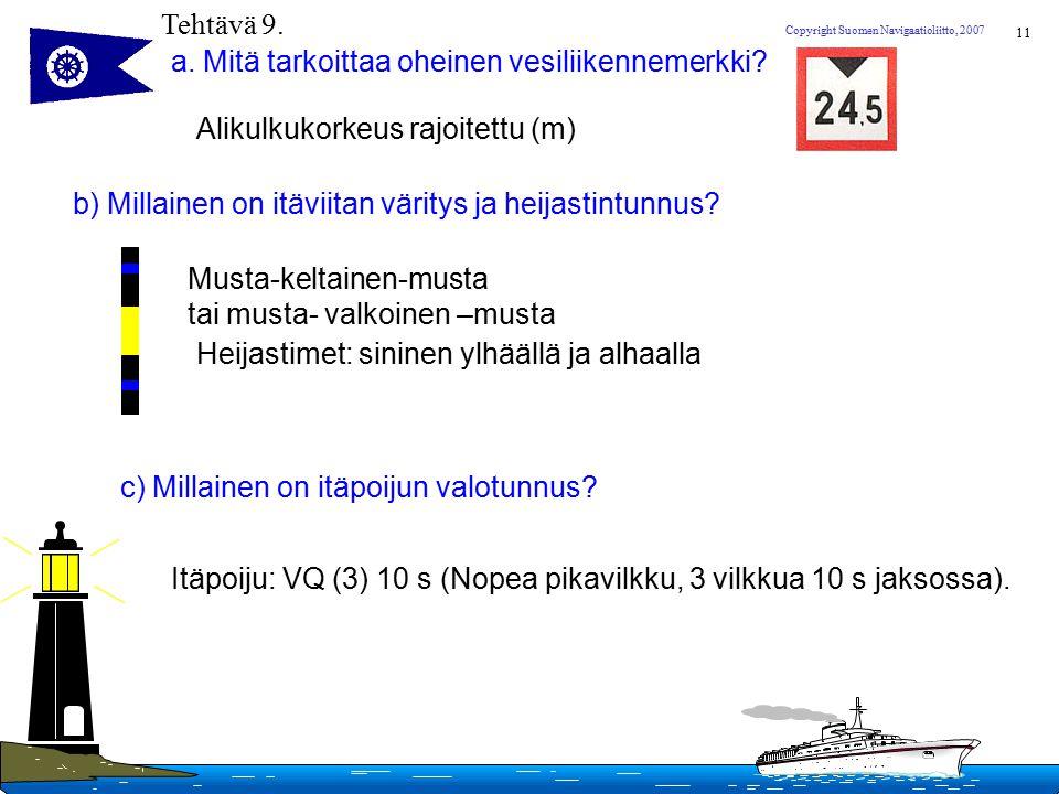 Tehtävä 9. a. Mitä tarkoittaa oheinen vesiliikennemerkki Alikulkukorkeus rajoitettu (m) b) Millainen on itäviitan väritys ja heijastintunnus