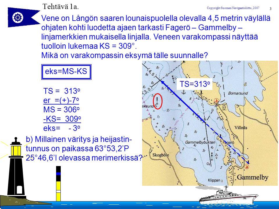 Tehtävä 1a. Vene on Långön saaren lounaispuolella olevalla 4,5 metrin väylällä. ohjaten kohti luodetta ajaen tarkasti Fagerö – Gammelby –