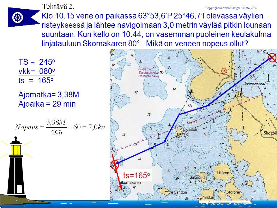 Tehtävä 2. Klo 10.15 vene on paikassa 63°53,6'P 25°46,7'I olevassa väylien. risteyksessä ja lähtee navigoimaan 3,0 metrin väylää pitkin lounaan.