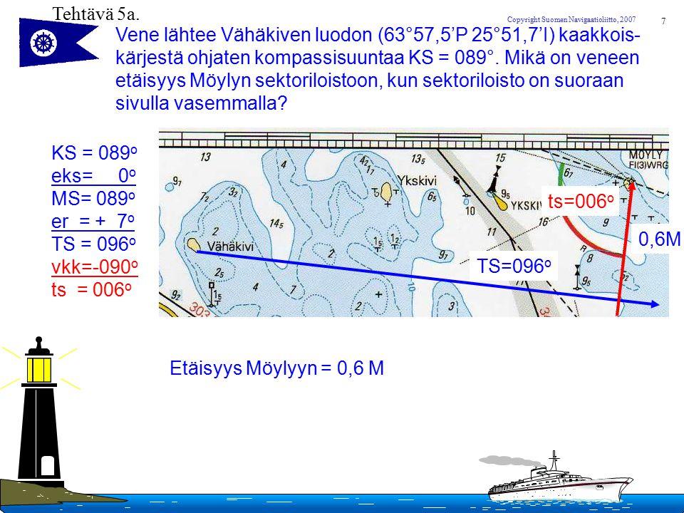 Tehtävä 5a. Vene lähtee Vähäkiven luodon (63°57,5'P 25°51,7'I) kaakkois- kärjestä ohjaten kompassisuuntaa KS = 089°. Mikä on veneen.