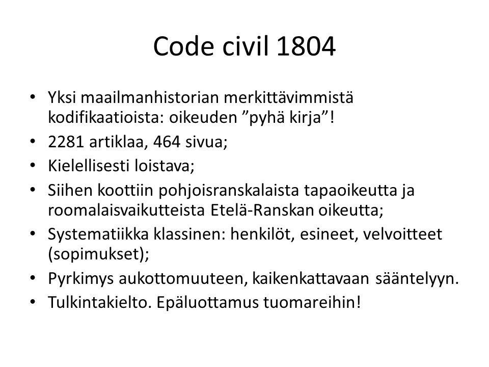 Code civil 1804 Yksi maailmanhistorian merkittävimmistä kodifikaatioista: oikeuden pyhä kirja ! 2281 artiklaa, 464 sivua;