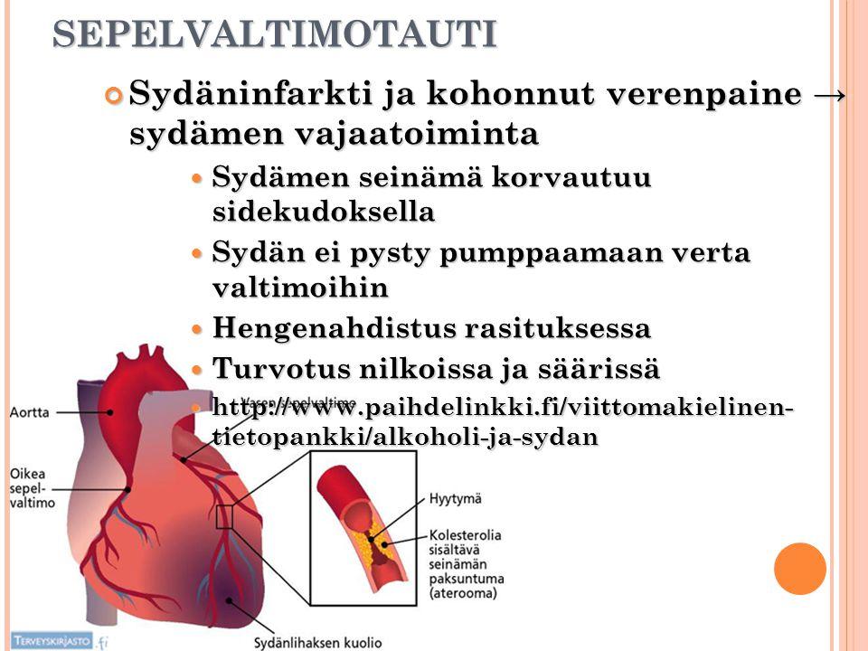 SEPELVALTIMOTAUTI Sydäninfarkti ja kohonnut verenpaine → sydämen vajaatoiminta. Sydämen seinämä korvautuu sidekudoksella.