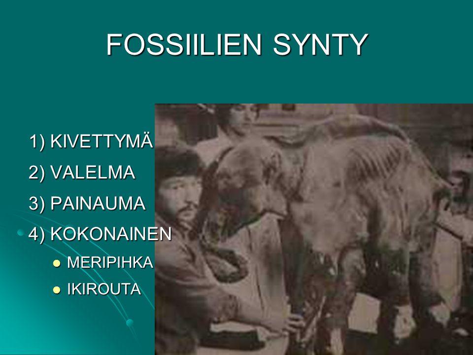 FOSSIILIEN SYNTY 1) KIVETTYMÄ 2) VALELMA 3) PAINAUMA 4) KOKONAINEN