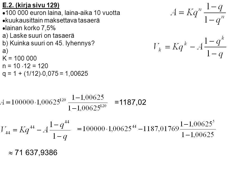 E.2. (kirja sivu 129) 100 000 euron laina, laina-aika 10 vuotta. kuukausittain maksettava tasaerä.