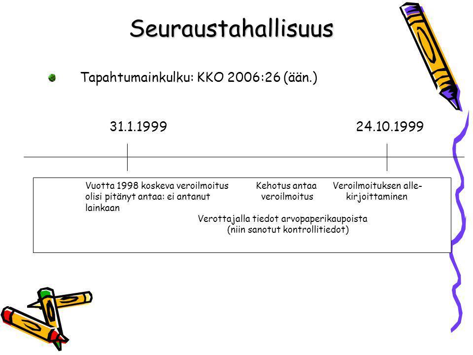 Seuraustahallisuus Tapahtumainkulku: KKO 2006:26 (ään.)