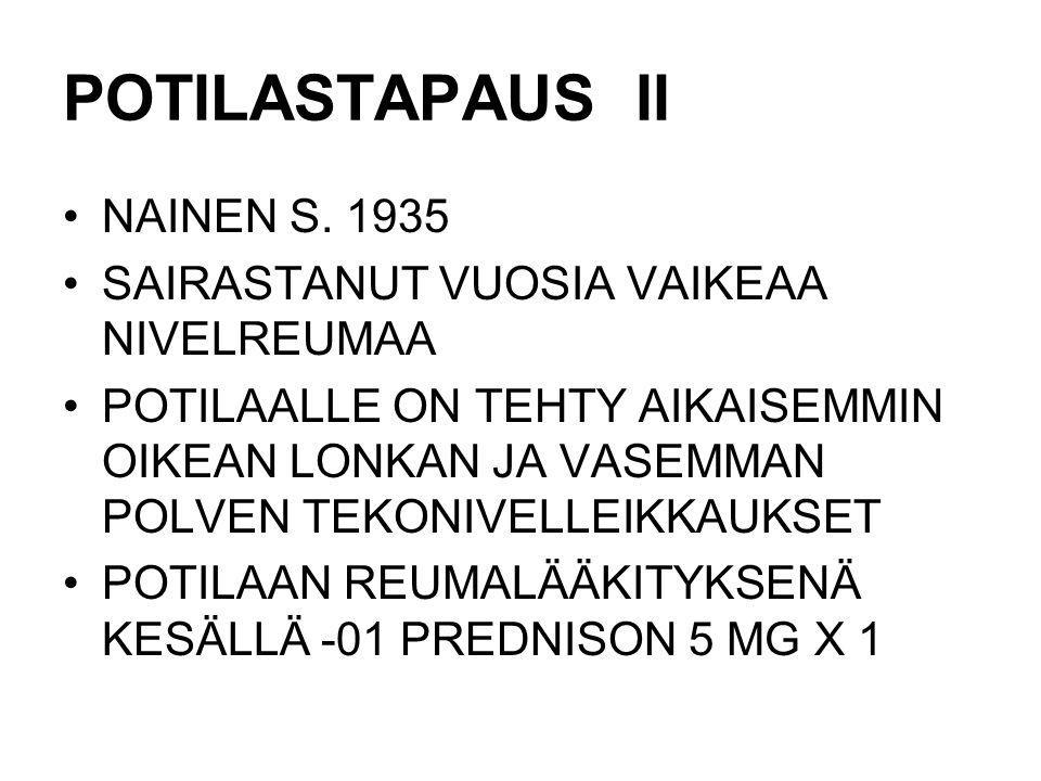 POTILASTAPAUS II NAINEN S. 1935 SAIRASTANUT VUOSIA VAIKEAA NIVELREUMAA