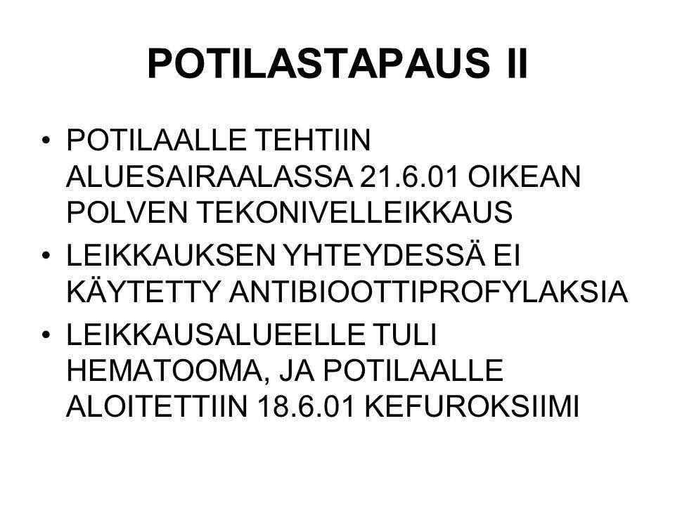 POTILASTAPAUS II POTILAALLE TEHTIIN ALUESAIRAALASSA 21.6.01 OIKEAN POLVEN TEKONIVELLEIKKAUS.