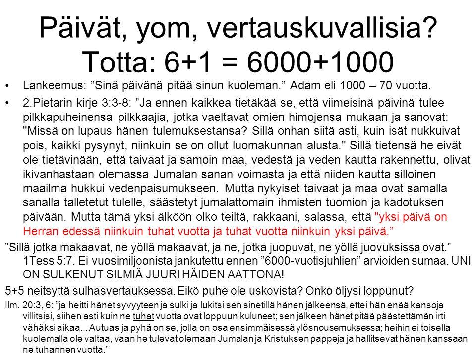 Päivät, yom, vertauskuvallisia Totta: 6+1 = 6000+1000