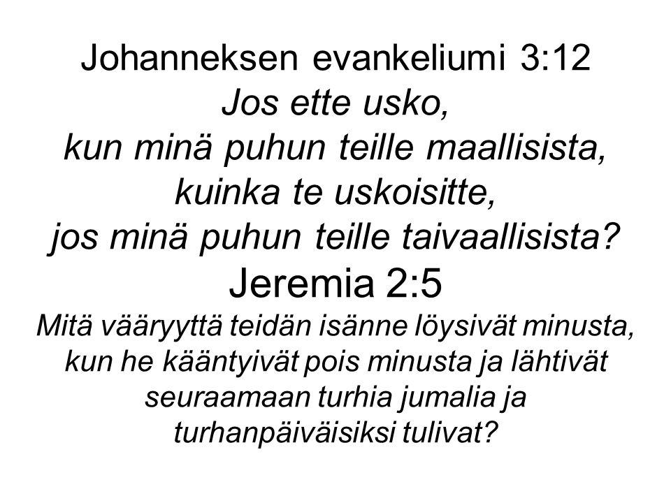 Johanneksen evankeliumi 3:12 Jos ette usko, kun minä puhun teille maallisista, kuinka te uskoisitte, jos minä puhun teille taivaallisista.