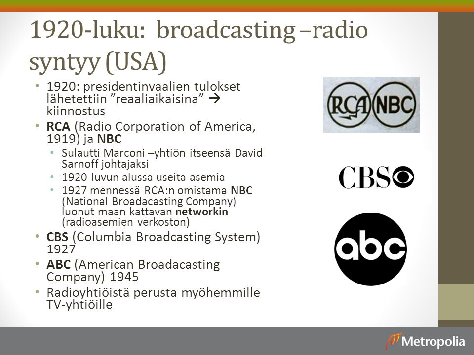 1920-luku: broadcasting –radio syntyy (USA)