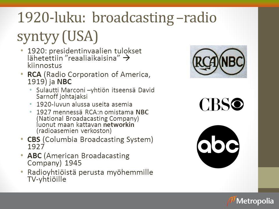 1920-luku: broadcasting –radio syntyy (USA)
