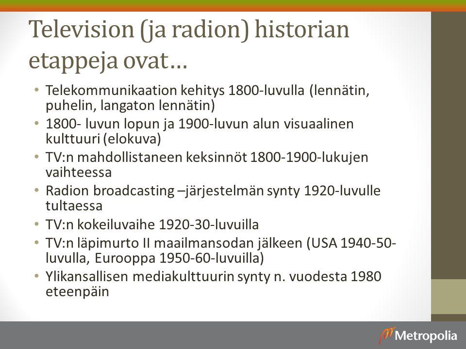 Television (ja radion) historian etappeja ovat…