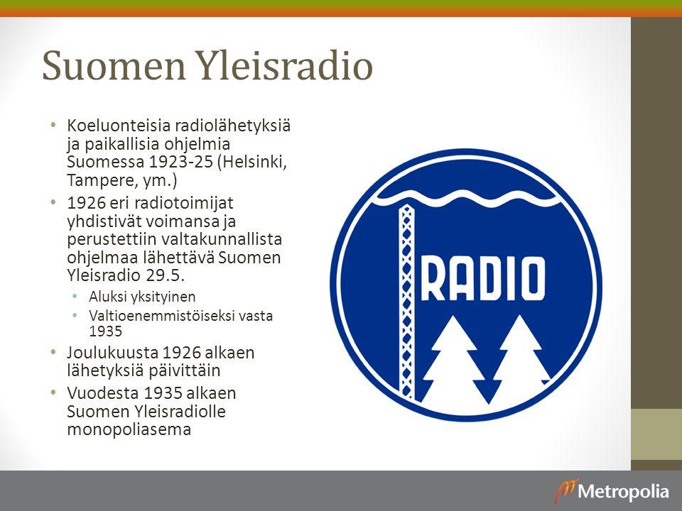 Suomen Yleisradio Koeluonteisia radiolähetyksiä ja paikallisia ohjelmia Suomessa 1923-25 (Helsinki, Tampere, ym.)