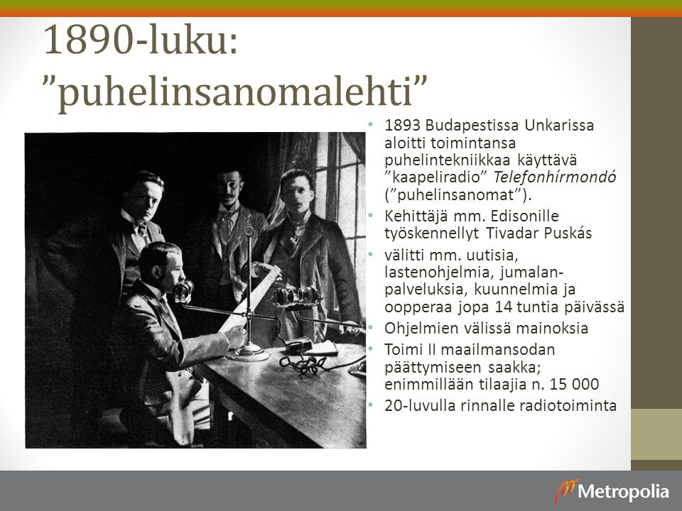 1890-luku: puhelinsanomalehti