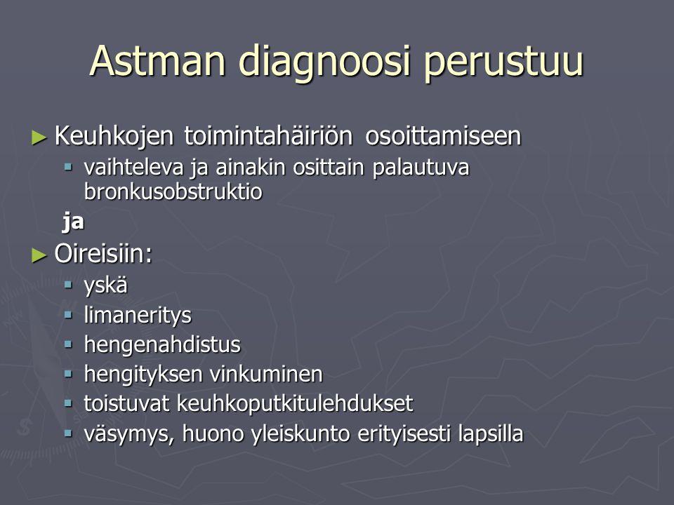 Astman diagnoosi perustuu