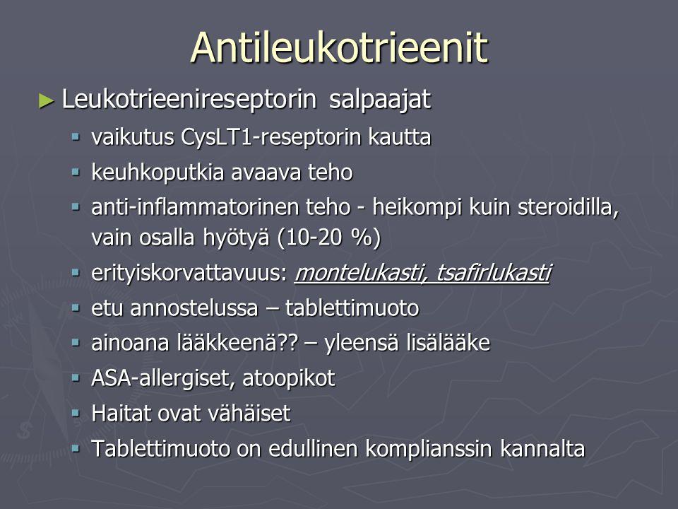 Antileukotrieenit Leukotrieenireseptorin salpaajat