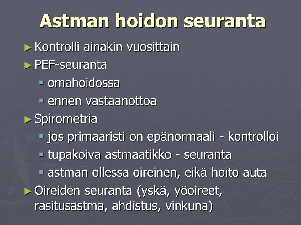 Astman hoidon seuranta