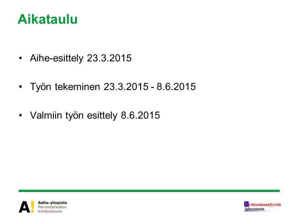 Aikataulu Aihe-esittely 23.3.2015 Työn tekeminen 23.3.2015 - 8.6.2015