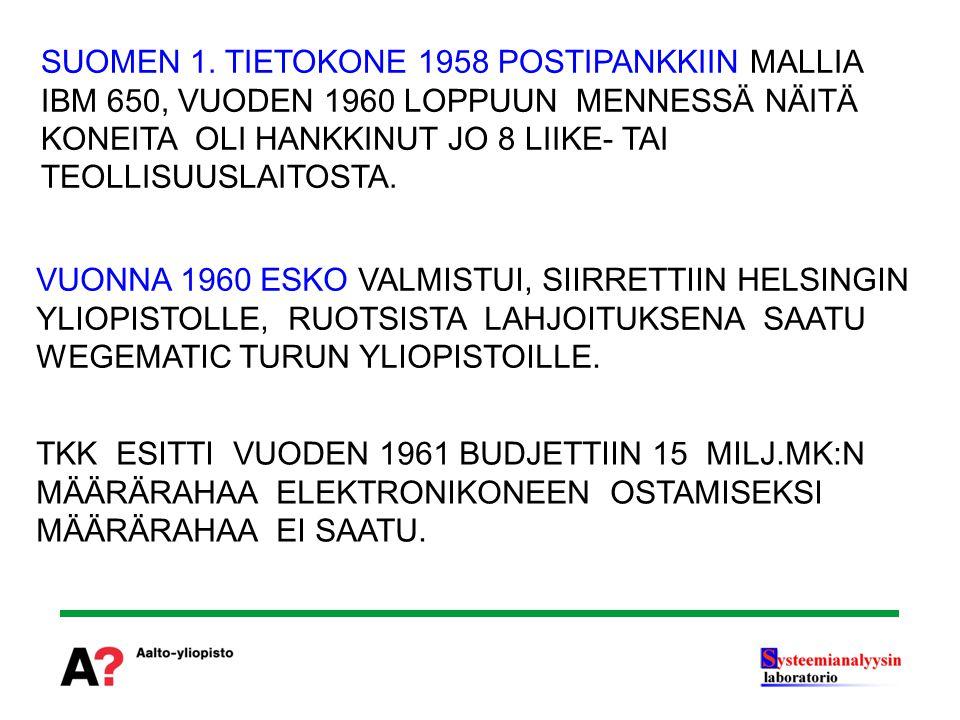 SUOMEN 1. TIETOKONE 1958 POSTIPANKKIIN MALLIA