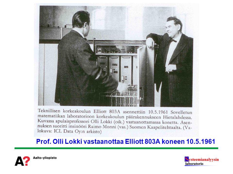 Prof. Olli Lokki vastaanottaa Elliott 803A koneen 10.5.1961