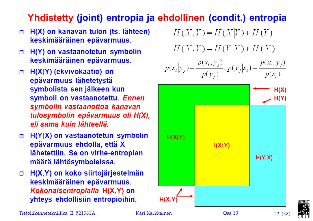 Yhdistetty (joint) entropia ja ehdollinen (condit.) entropia