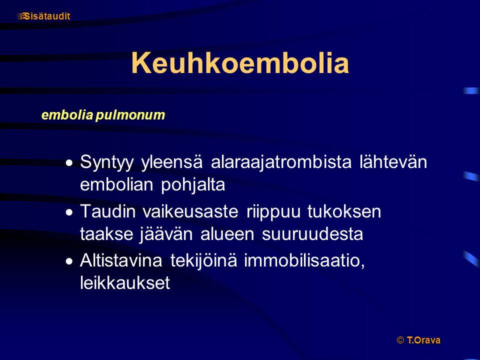 T.Orava Sisätaudit. Keuhkoembolia. embolia pulmonum. Syntyy yleensä alaraajatrombista lähtevän embolian pohjalta.