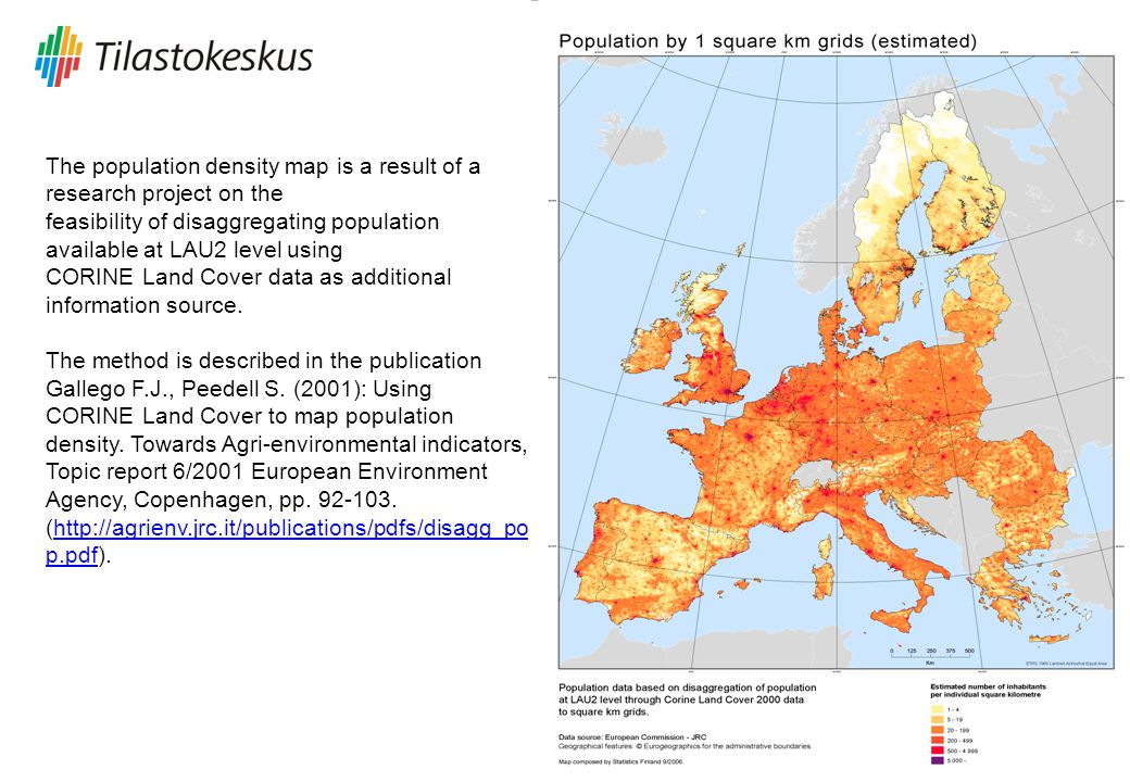 The population density map is a result of a research project on the