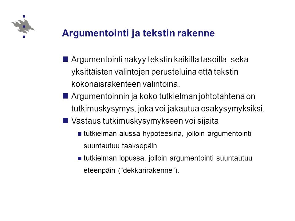 Argumentointi ja tekstin rakenne