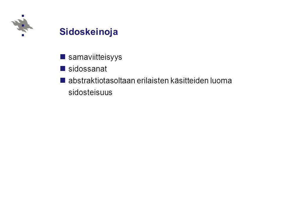 Sidoskeinoja samaviitteisyys sidossanat