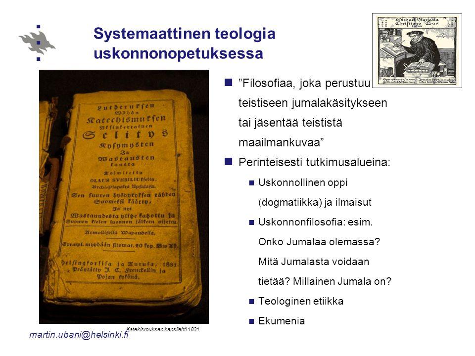 Systemaattinen teologia uskonnonopetuksessa