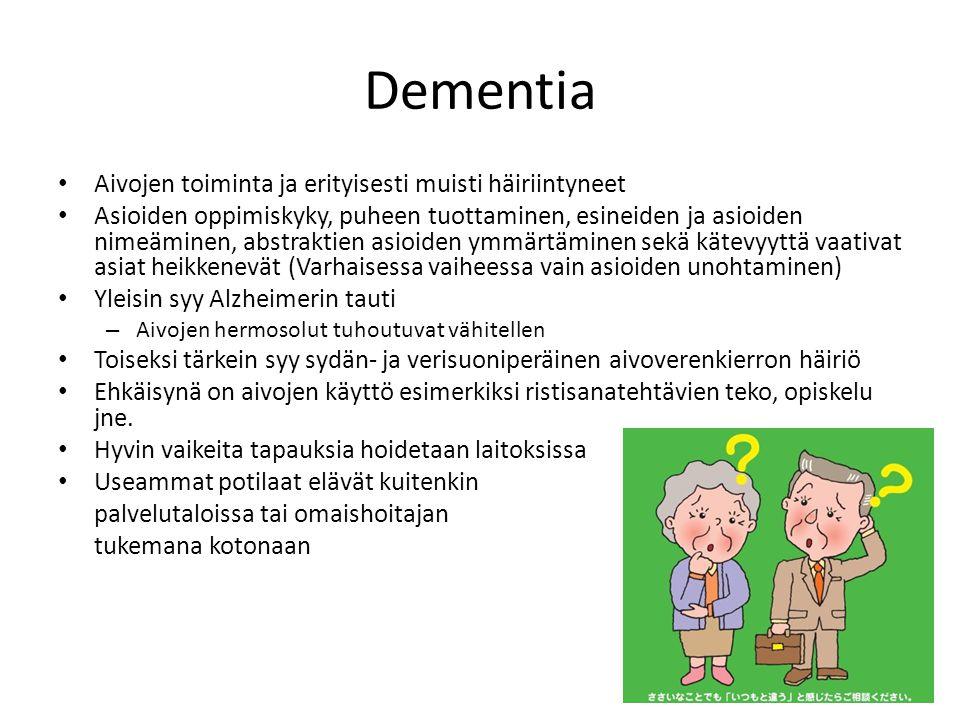 Dementia Aivojen toiminta ja erityisesti muisti häiriintyneet