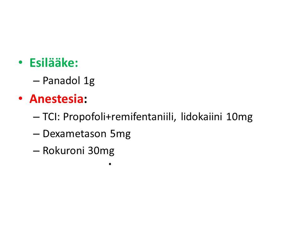 Esilääke: Anestesia: Panadol 1g