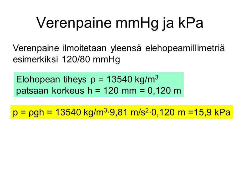 Verenpaine mmHg ja kPa Verenpaine ilmoitetaan yleensä elehopeamillimetriä. esimerkiksi 120/80 mmHg.