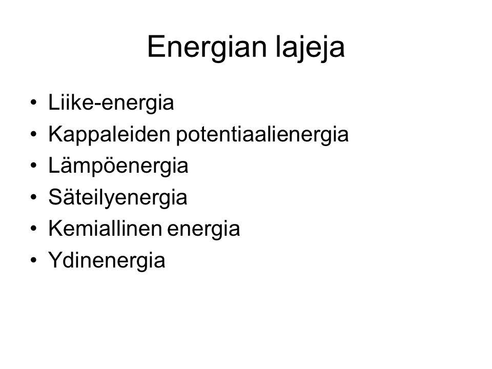 Energian lajeja Liike-energia Kappaleiden potentiaalienergia