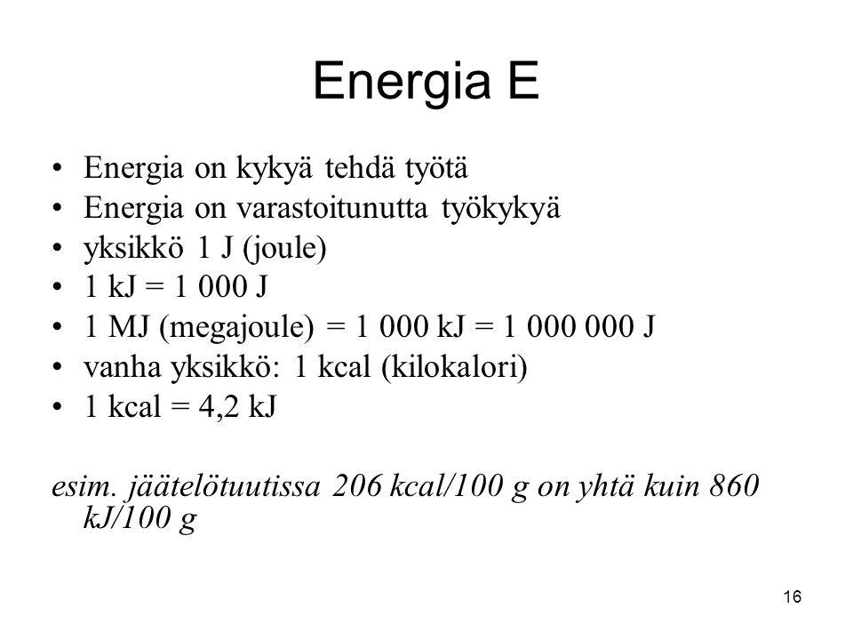 Energia E Energia on kykyä tehdä työtä