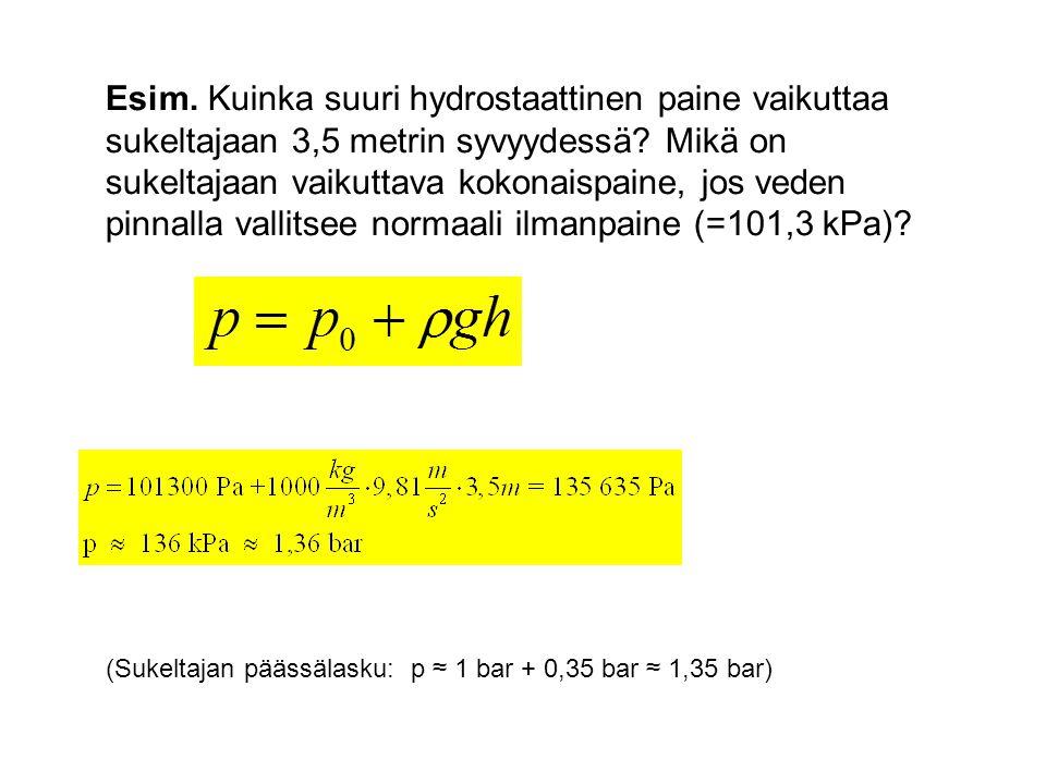 Esim. Kuinka suuri hydrostaattinen paine vaikuttaa sukeltajaan 3,5 metrin syvyydessä Mikä on sukeltajaan vaikuttava kokonaispaine, jos veden pinnalla vallitsee normaali ilmanpaine (=101,3 kPa)