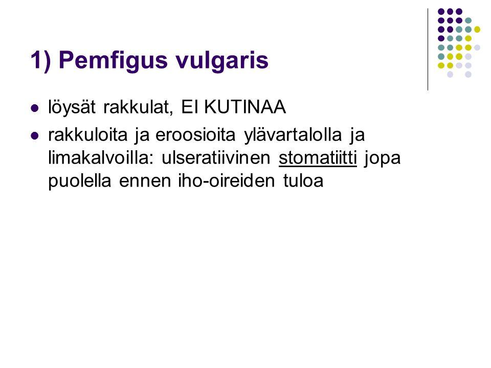 1) Pemfigus vulgaris löysät rakkulat, EI KUTINAA