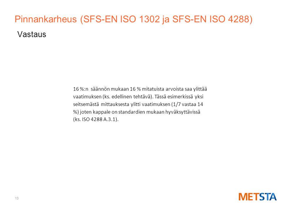 Pinnankarheus (SFS-EN ISO 1302 ja SFS-EN ISO 4288)