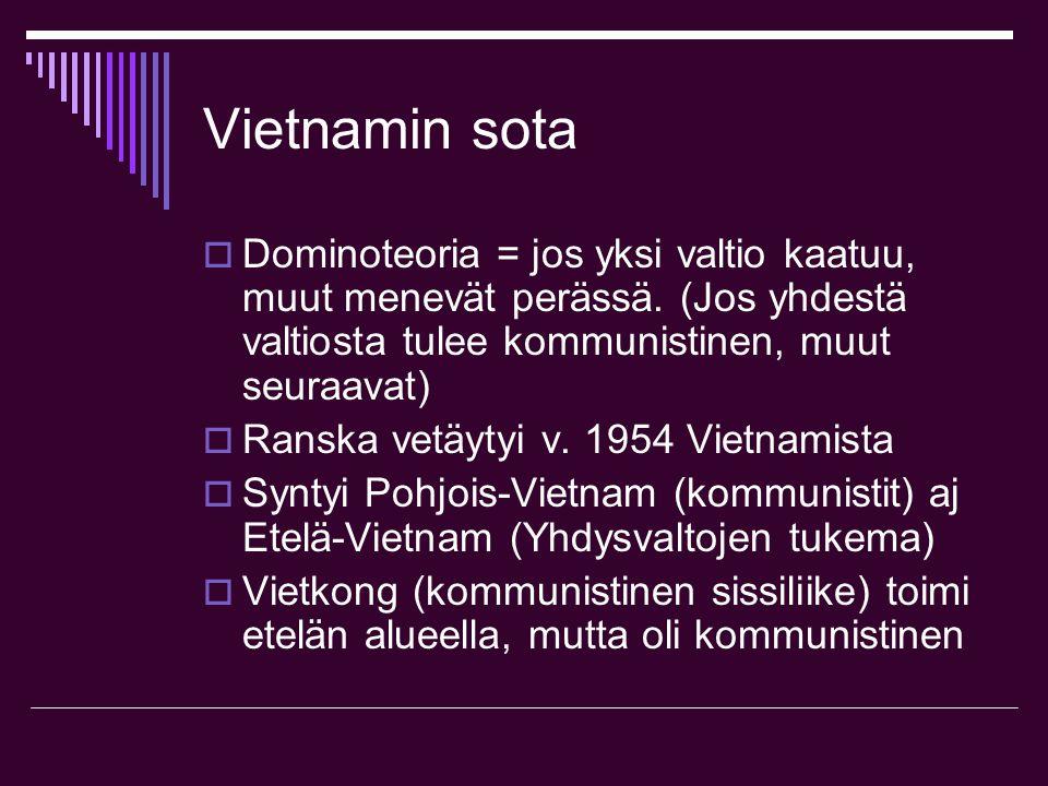 Vietnamin sota Dominoteoria = jos yksi valtio kaatuu, muut menevät perässä. (Jos yhdestä valtiosta tulee kommunistinen, muut seuraavat)