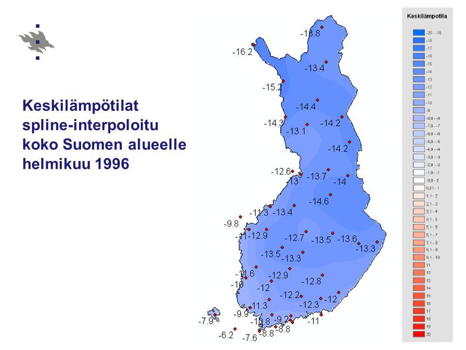 Keskilämpötilat spline-interpoloitu koko Suomen alueelle helmikuu 1996