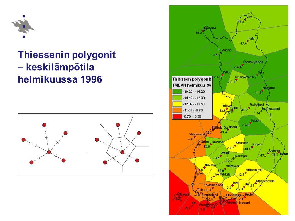 Thiessenin polygonit – keskilämpötila helmikuussa 1996