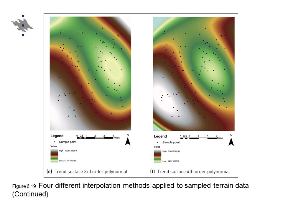 Figure 6.19 Four different interpolation methods applied to sampled terrain data (Continued)