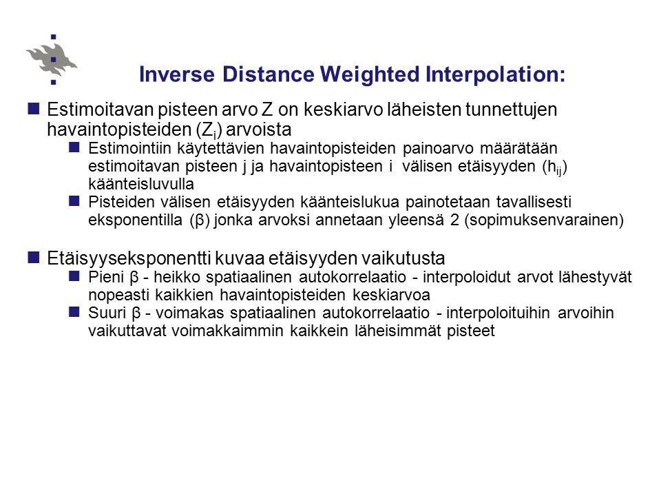 Inverse Distance Weighted Interpolation: