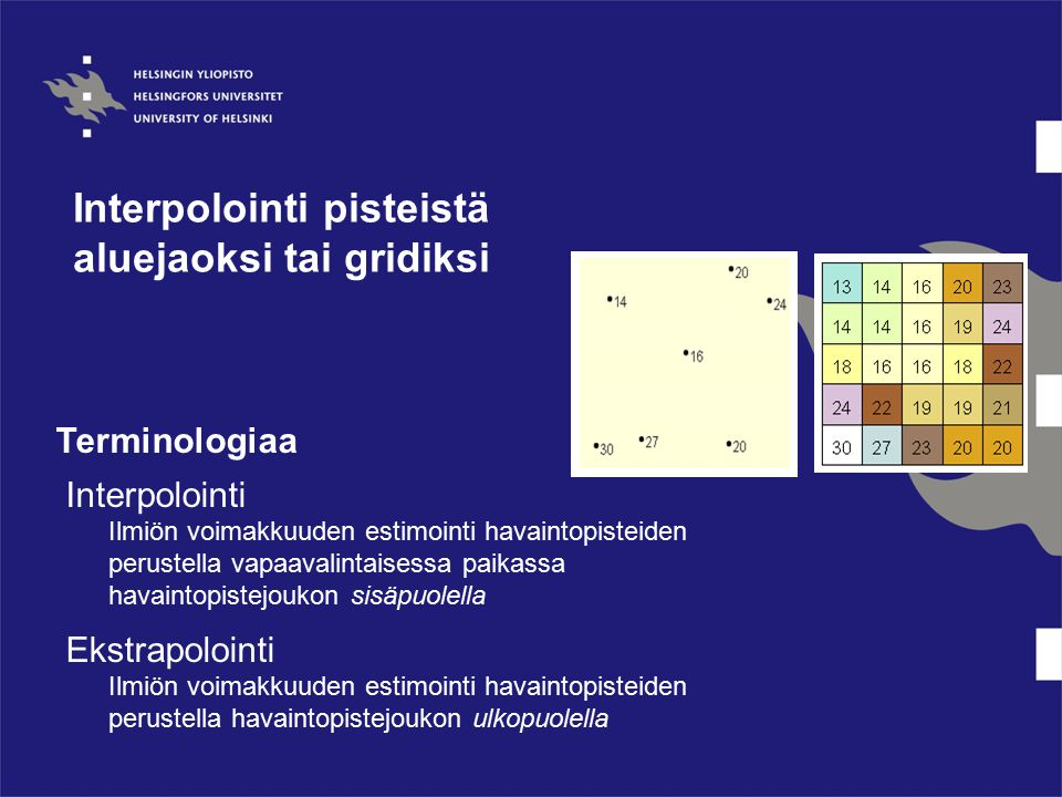 Interpolointi pisteistä aluejaoksi tai gridiksi