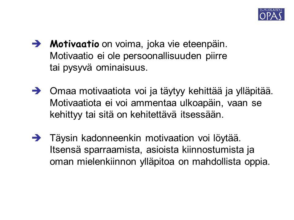  Motivaatio on voima, joka vie eteenpäin.